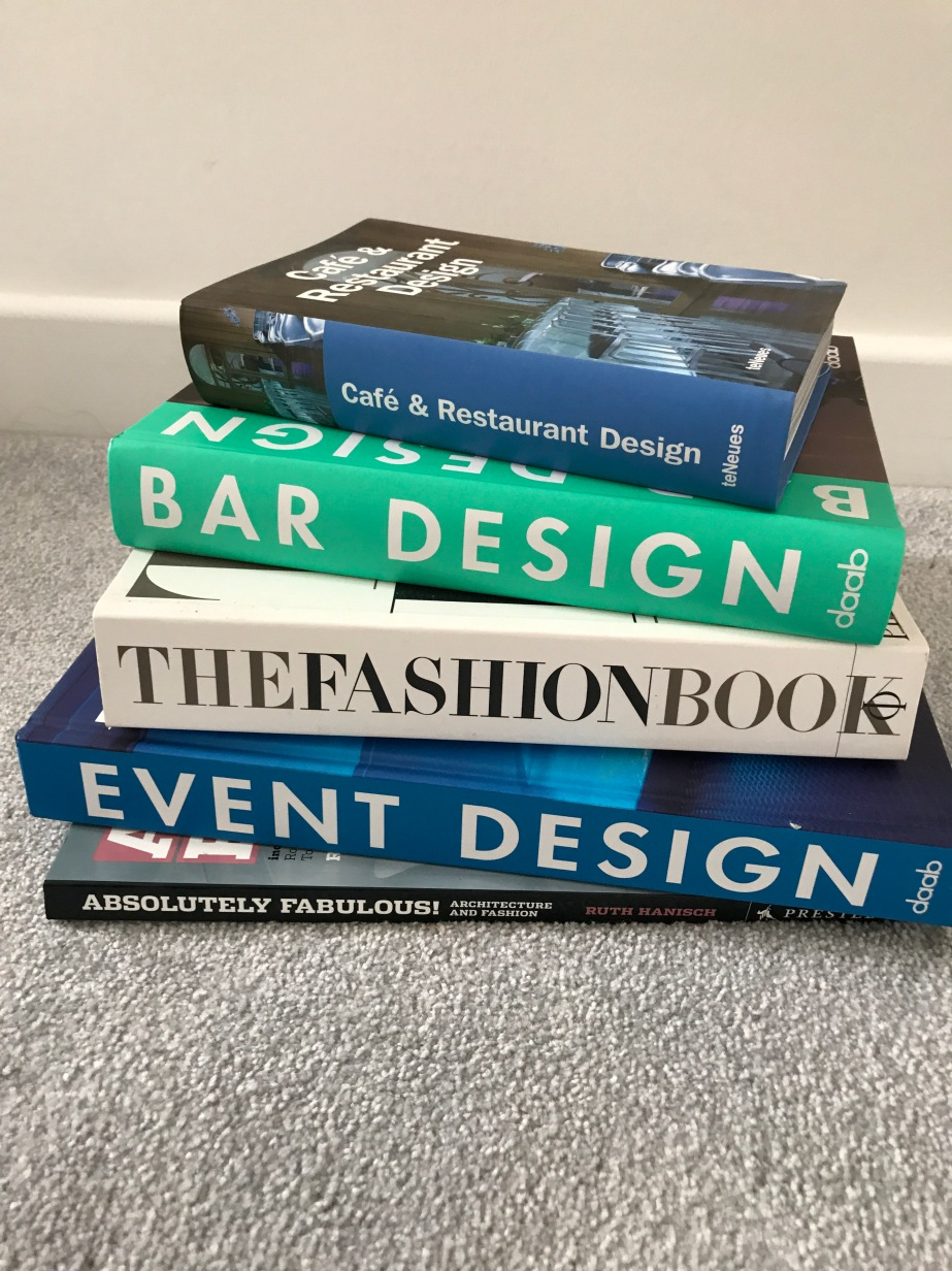 Design books, event design, interior design, set design