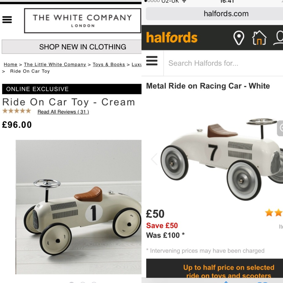 Retro car, style bargains, bargain hunting, get the look for less, Halfords, the white company, playroom, Christmas shopping, toddler fun