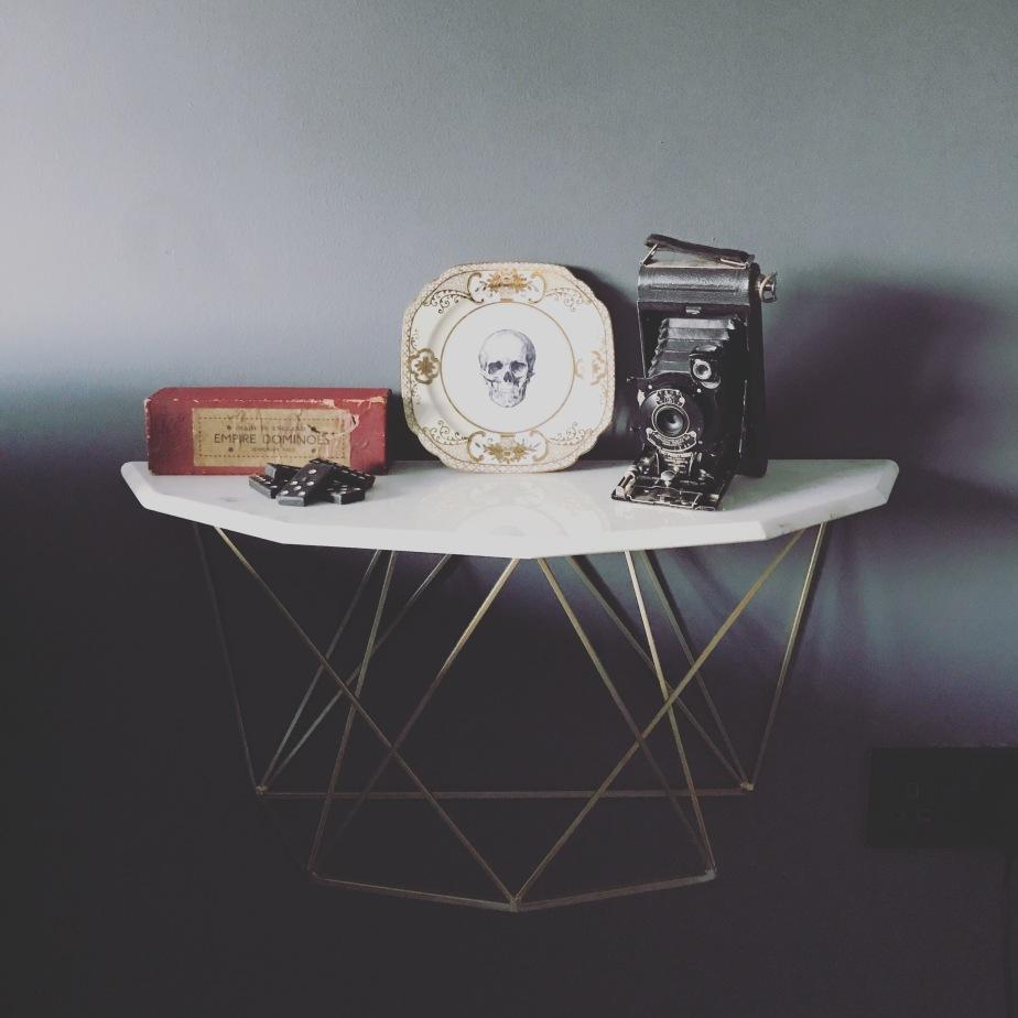 Marble furniture, graham & green, vintage finds, floating shelf, side table