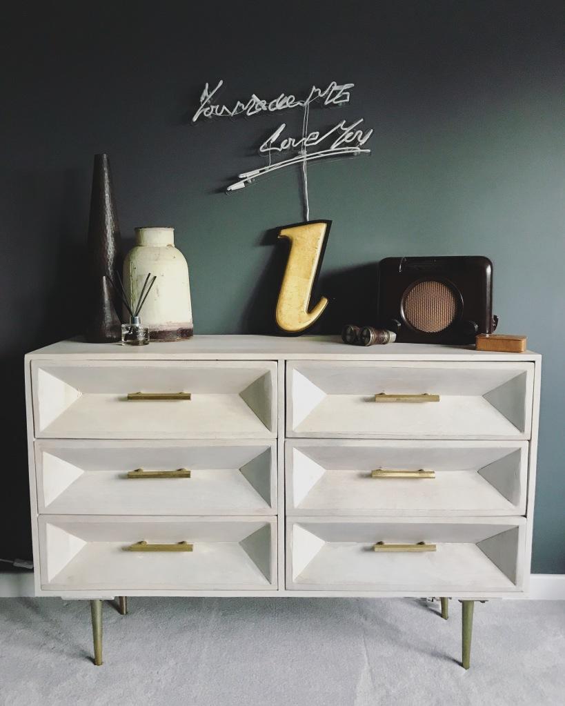 Vintage finds, neon sign, homesense furniture, sideboard, home interiors