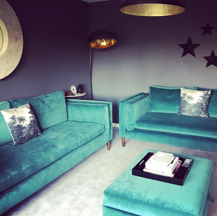 Home decor, interiors, living room goals, work in progress, dfs, sofa workshop, velvet sofa, farrow & ball down pipe, graham & green lamp, black and gold, lighting, achica