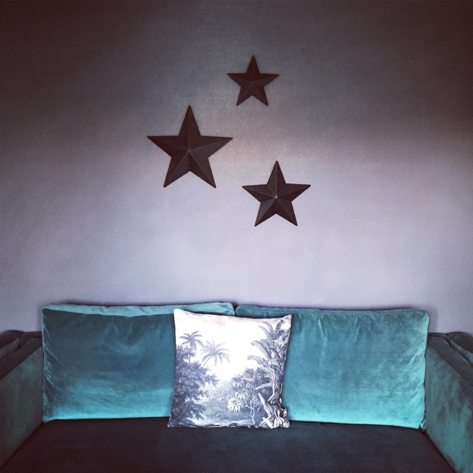 Gesso stars, Cox & Cox, farrow & ball down pipe, velvet sofa, rockett st george, jungle print cushion